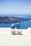 Balcony overlooking mediteranean sea Stock Image
