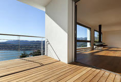 Balcony with panoramic view. Modern apartment, balcony with panoramic view royalty free stock photography