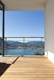 Balcony with panoramic view. Modern apartment, balcony with panoramic view royalty free stock image