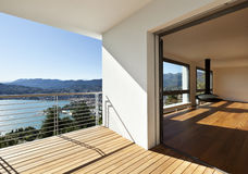 Balcony with panoramic view. Modern apartment, balcony with panoramic view stock photography
