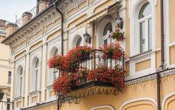 Balcony with   pelargonium Stock Images