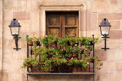 Balcony with pelargoniums Royalty Free Stock Photo