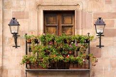 Balcony with pelargoniums. In autumn Royalty Free Stock Photo