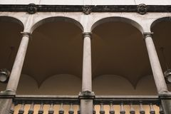 Balcony. With pillars and lamps stock photo
