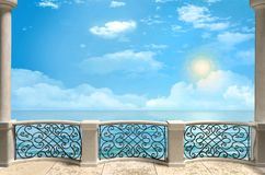 Balcony with pillars and metal forged grille. Sea view. Illustrationn - 3d rendering royalty free illustration