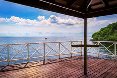 Balcony porch sea view in Trinidad and Tobago island Royalty Free Stock Photography