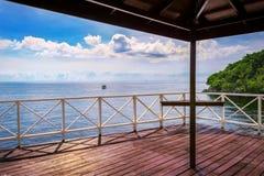 Balcony porch sea view in Trinidad and Tobago island. Balcony porch sea view in Trinidad and Tobago royalty free stock photography