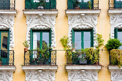 Balcony with pots Royalty Free Stock Photo