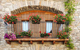 Balcony with pots. Facade with pots in the windows and on the iron balcony located in the Spanish town of Castejon Royalty Free Stock Images