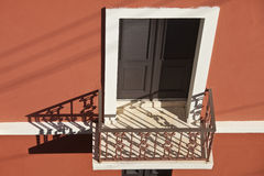 Balcony and red wall, san juan Stock Photography