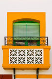 Balcony. The Renovated Facade of the Old Spain House stock photo