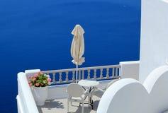 Balcony at the sea, Santorini, Greece Royalty Free Stock Image
