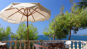 Balcony at the sea in Turkey stock video footage