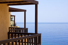Balcony with sea view on Crete island in Greece Royalty Free Stock Photography