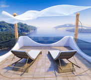 Balcony with Sea Views and two chairs vacation concept background Royalty Free Stock Image