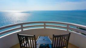 Balcony set facing the sea royalty free stock photo