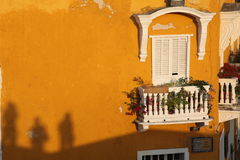 A balcony. The shadows on the wall at cartagena Stock Images