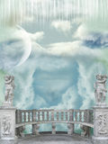 Balcony in the sky. With angel statues Royalty Free Stock Image