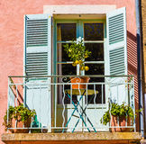 Balcony With Small Lemon Tree-Tourtour,France Stock Images