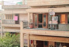 Balcony in some poor district of Delhi Stock Images