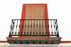 Balcony with sunshade in Carmona, Spain Royalty Free Stock Photos