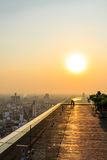 Balcony and Suset City View , Bangkok in Thailand Royalty Free Stock Photography