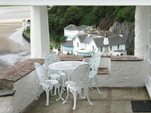 Balcony table in Portmeirion stock image