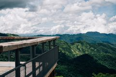Balcony and Terrace on viewpoint with high mountain blue sky on. Background stock image