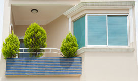 Balcony with thujas Royalty Free Stock Image