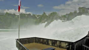 Balcony for tourists over Rhine Falls / Switzerland stock video footage
