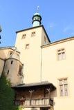 Balcony and tower on castle Vlašský dvůr Stock Images