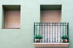 Balcony with two vases in Figueres Royalty Free Stock Image