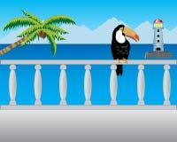 Balcony with type on sea Royalty Free Stock Photos