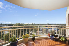 Balcony with a view. Against blue sky royalty free stock images