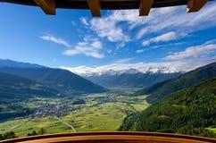 Balcony view in the Alps. Balcony view in Italian Alps in spring stock photo