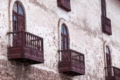 Balcony with a view. Of the old building stock photography