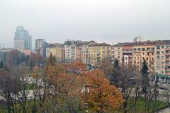 Balcony view of Buildings in the centre of Sofia, Bulgaria royalty free stock photo