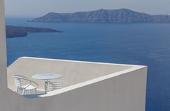 Balcony with view on caldera Stock Photography