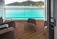 Balcony view on cruise ship Royalty Free Stock Photo