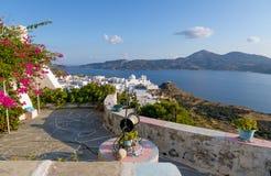 Balcony with a view, Plaka village, Milos island, Cyclades, Greece Stock Photo