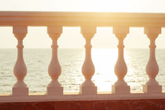 Balcony view on the sea. Shore on a sunny day. Summer Stock Photography