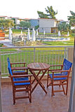 Balcony view to the swimming pool Stock Photos