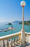 Balcony view of Vlacherna monastery iCorfu. Beautiful balcony view of Vlacherna monastery in Corfu, Greece Stock Photo