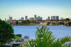 Balcony views from waterfront Mansion. Overlooking the canal and skyline Stock Photos