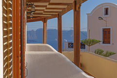 Balcony of villa on Santorini Stock Images