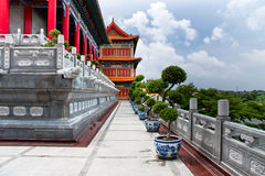 Balcony and walk. In a Chinese temple Royalty Free Stock Photos