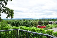 Balcony which can see the mountain view and green nature. royalty free stock photo