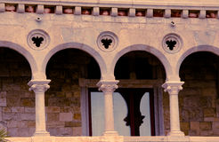 Balcony and window in an ancient castle. tinted Royalty Free Stock Images
