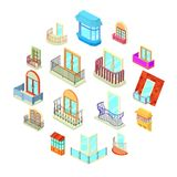 Balcony window forms icons set, isometric style. Balcony window forms icons set. Isometric illustration of 16 balcony window forms icons set vector icons for web vector illustration