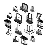 Balcony window forms icons set, simple style. Balcony window forms icons set. Simple illustration of 16 balcony window forms icons set vector icons for web stock illustration